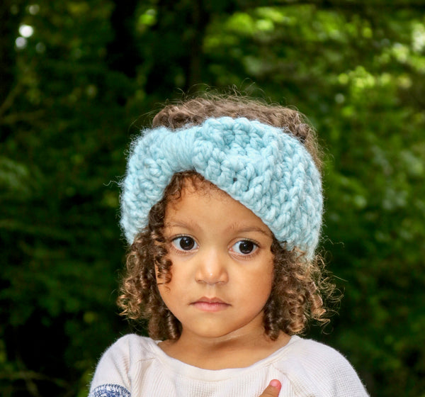 Sky blue knotted bow winter headband