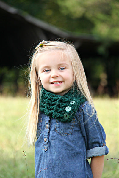 Evergreen pine button scarf