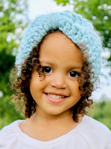 Sky blue knotted bow winter headband by Two Seaside Babes