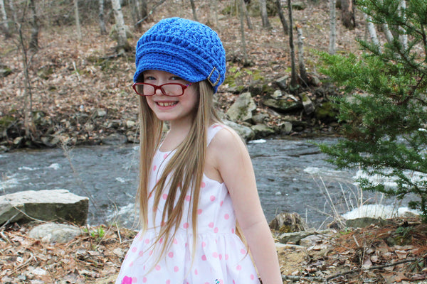 Cobalt blue buckle newsboy cap by Two Seaside Babes