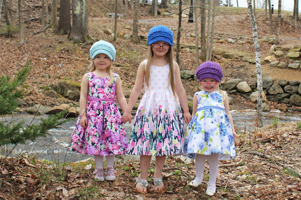 Pale blue, cobalt blue, and dark purple buckle newsboy cap by Two Seaside Babes