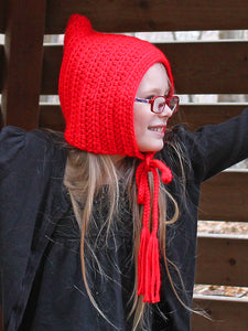 Red pixie elf hat by Two Seaside Babes