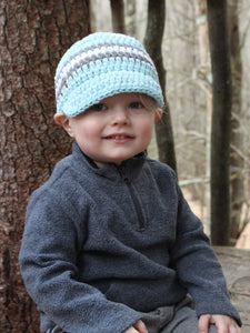 Pale blue, gray, & white striped visor beanie by Two Seaside Babes