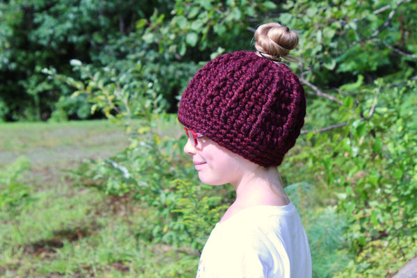 32 colors messy bun ponytail beanie winter hat