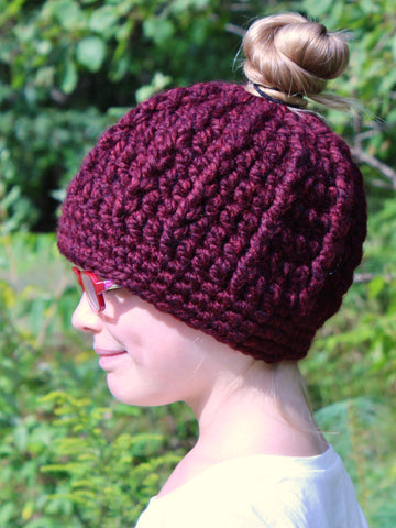 Red wine messy bun ponytail beanie winter hat by Two Seaside Babes