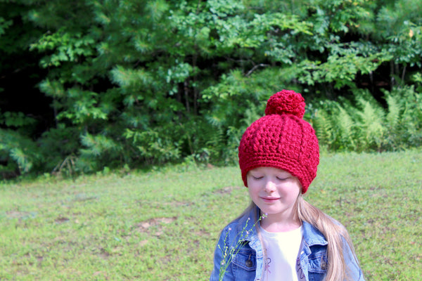 Cranberry sparkle pom beanie winter hat