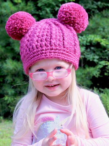 Raspberry pink double pom beanie winter hat by Two Seaside Babes