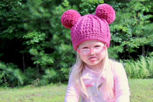 Raspberry pink double pom beanie winter hat