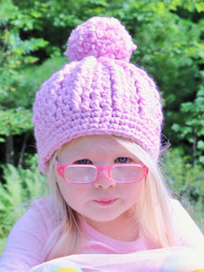 Pink blossom pom beanie winter hat by Two Seaside Babes