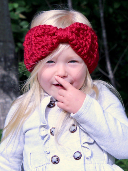 Cranberry red knotted bow winter headband by Two Seaside Babes