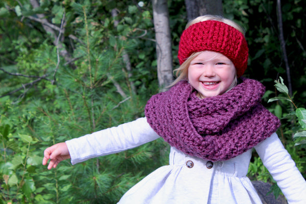 Cranberry red knotted bow winter headband