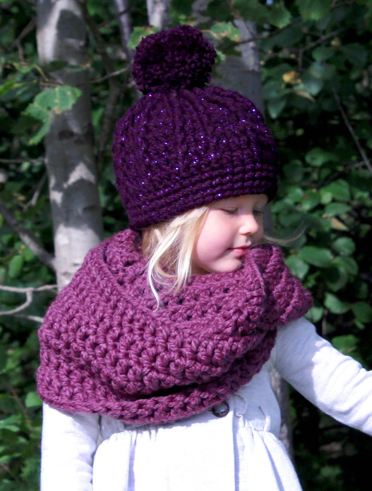 Purple plum infinity cowl winter scarf by Two Seaside Babes