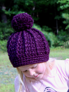 Eggplant sparkle pom beanie winter hat by Two Seaside Babes