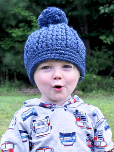 Denim blue pom beanie winter hat by Two Seaside Babes