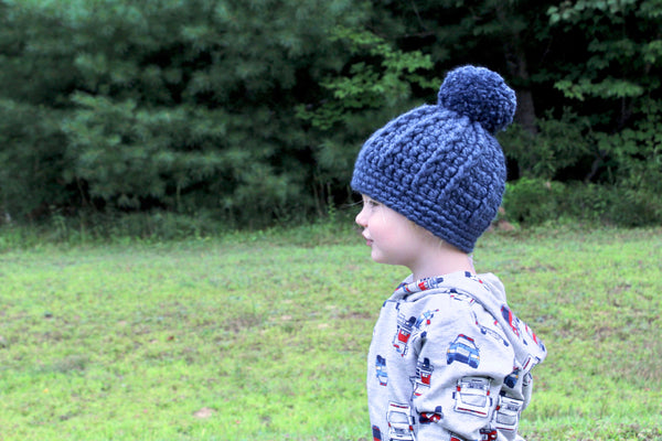Denim blue pom beanie winter hat
