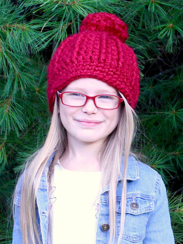 Cranberry sparkle pom beanie winter hat by Two Seaside Babes