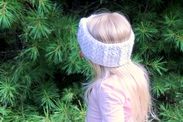 White sparkle knotted bow winter headband