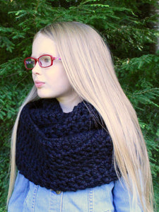 Black infinity cowl winter scarf by Two Seaside Babes