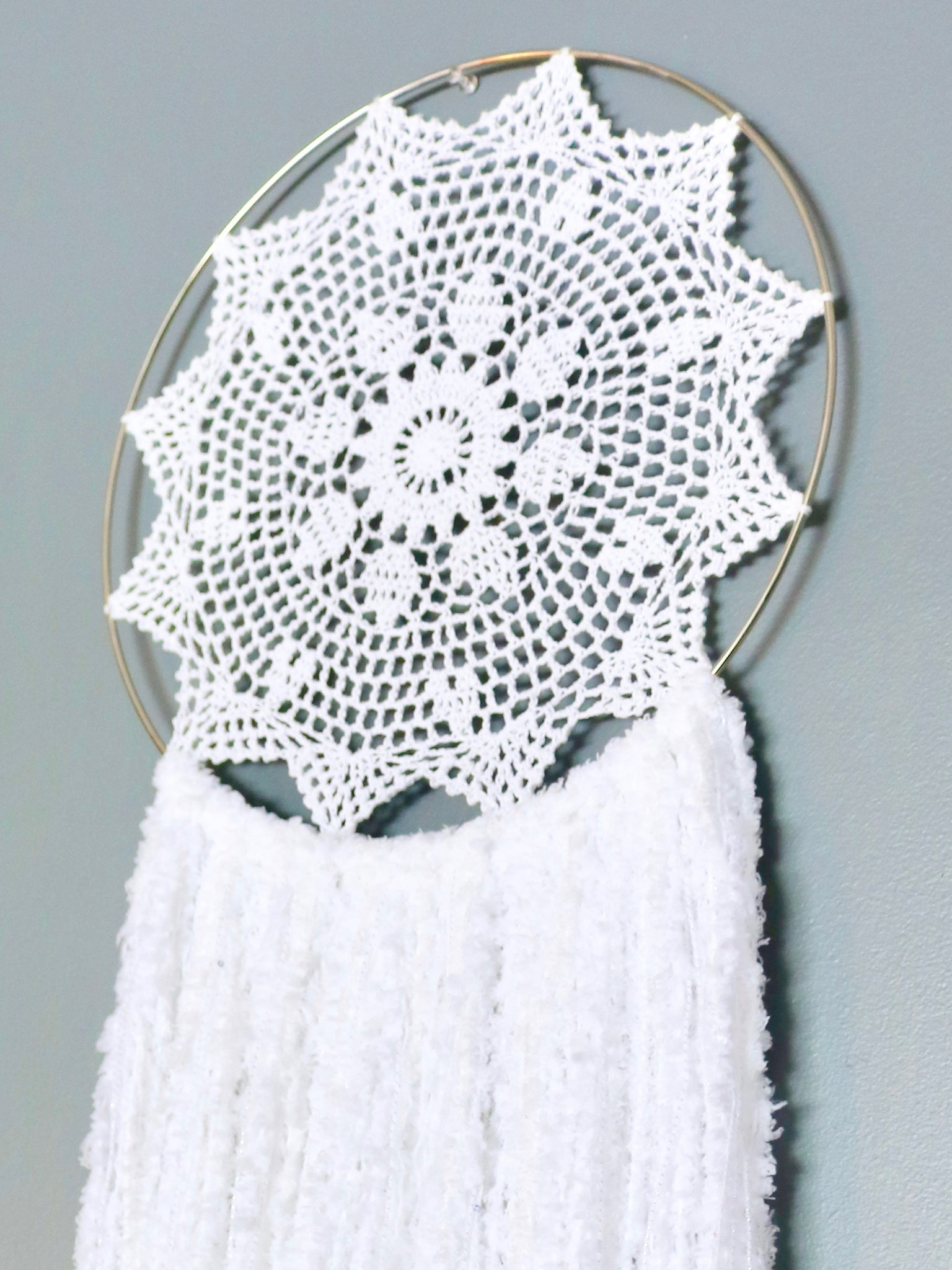 "41"" White Yarn Crochet Doily Dream Catcher by Two Seaside Babes"