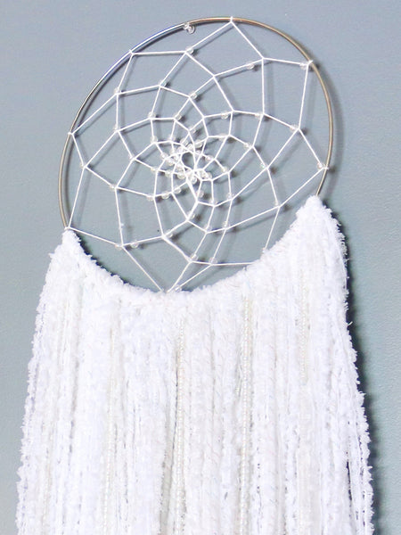 "36"" White Yarn Beaded Dream Catcher by Two Seaside Babes"