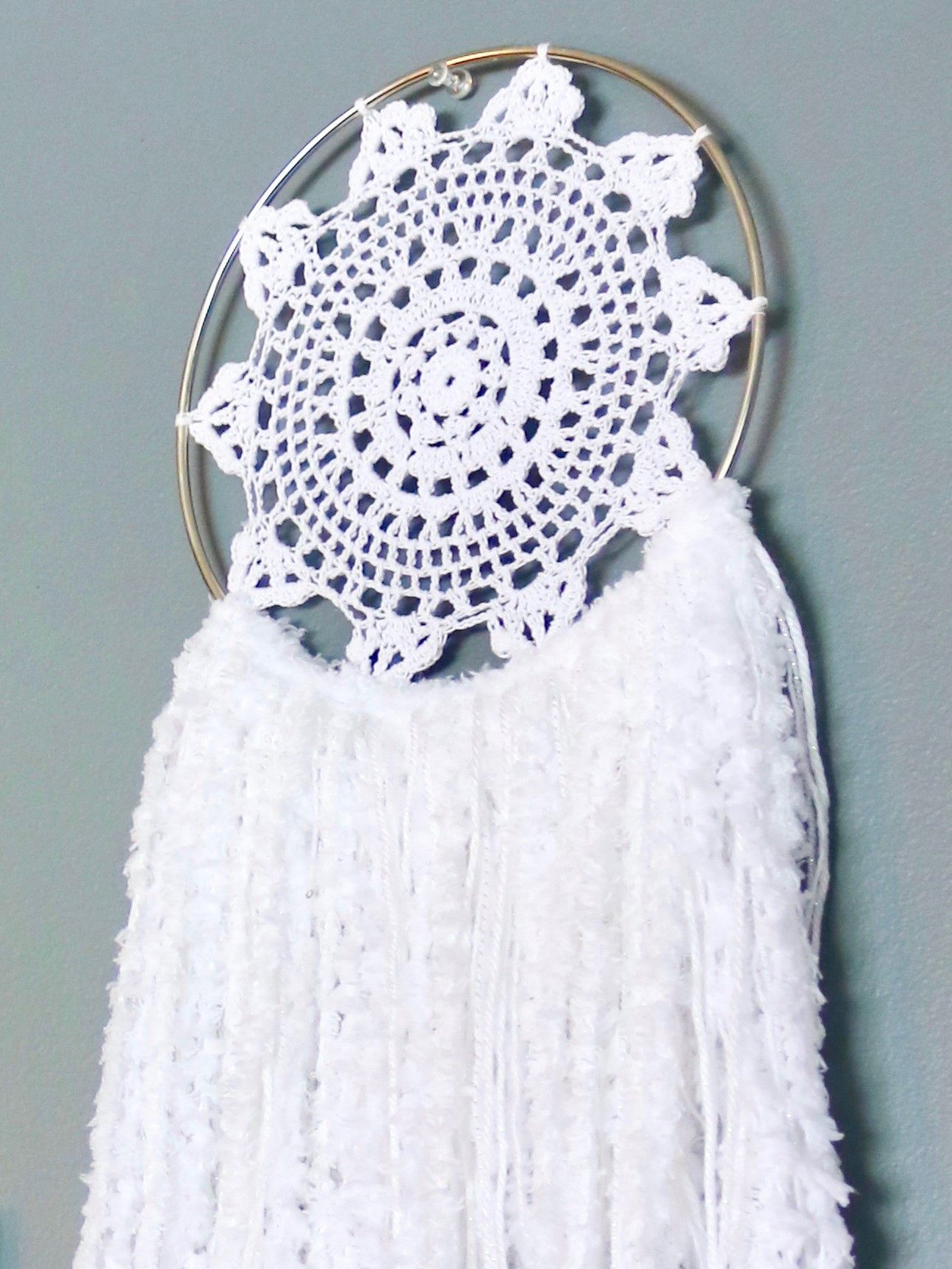 "30"" White Yarn Crochet Doily Dream Catcher by Two Seaside Babes"