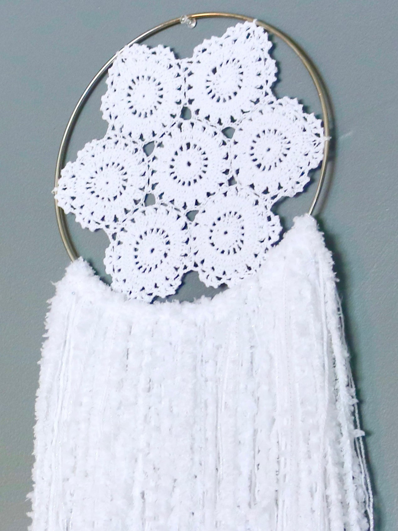 "34"" White Yarn Crochet Doily Dream Catcher by Two Seaside Babes"