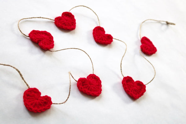 Red Valentine's Day heart farmhouse garland