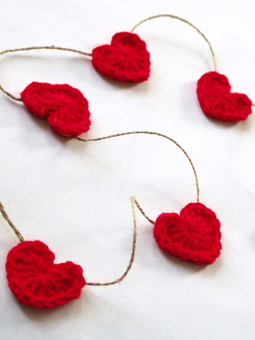 Red Valentine's Day heart farmhouse garland by Two Seaside Babes