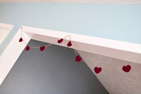 Red wine Valentine's Day heart farmhouse garland