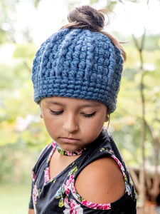 Denim blue messy bun ponytail beanie winter hat by Two Seaside Babes