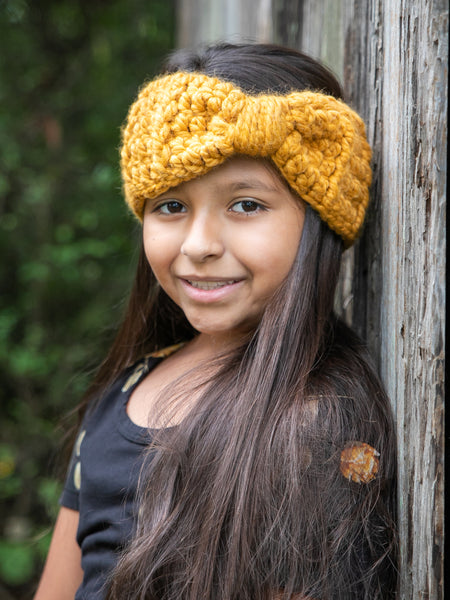 Mustard knotted bow winter headband by Two Seaside Babes