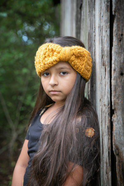 Mustard knotted bow winter headband