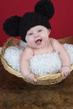 0 to 3 Month Black Pom Pom Hat