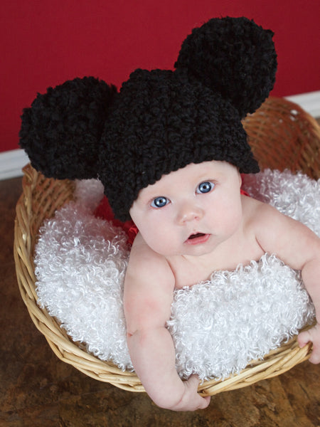 0 to 3 Month Black Pom Pom Hat by Two Seaside Babes