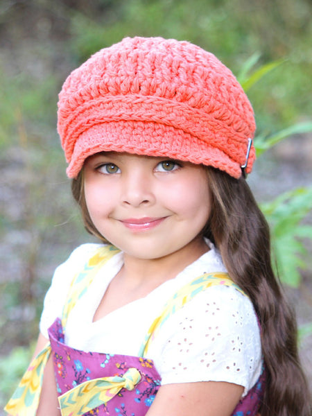 4T to Preteen Tangerine Buckle Newsboy Cap by Two Seaside Babes