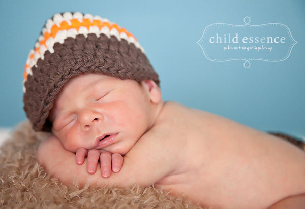 Newborn Chocolate Brown, Ecru, & Orange Striped Visor Beanie