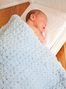 Blue soft and fluffy crochet baby blanket by Two Seaside Babes
