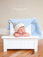 Newborn Ecru, Light Blue, & Khaki Striped Visor Beanie