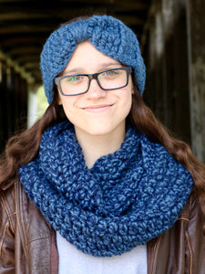 Denim twist infinity cowl winter scarf by Two Seaside Babes