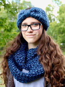 Denim blue knotted bow winter headband by Two Seaside Babes