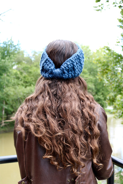 Denim blue knotted bow winter headband