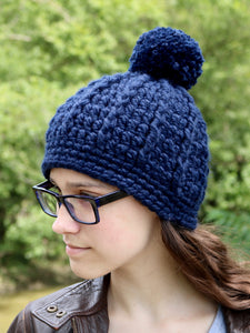 Navy blue pom beanie winter hat by Two Seaside Babes