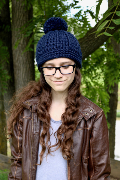 Navy blue pom beanie winter hat