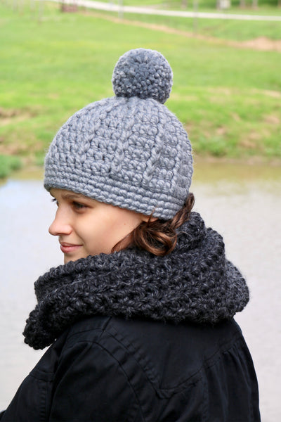 Slate gray pom beanie winter hat