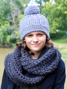 Slate gray pom beanie winter hat by Two Seaside Babes