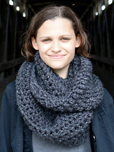 Charcoal gray infinity cowl winter scarf by Two Seaside Babes