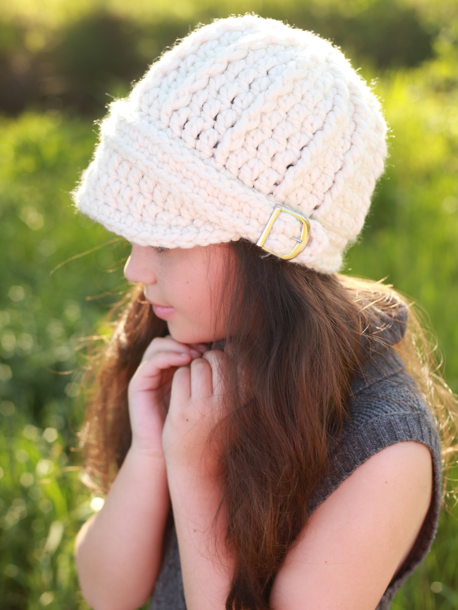 4T to Preteen Kids Cream Buckle Beanie by Two Seaside Babes