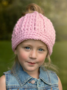 Pink blossom messy bun ponytail beanie winter hat by Two Seaside Babes