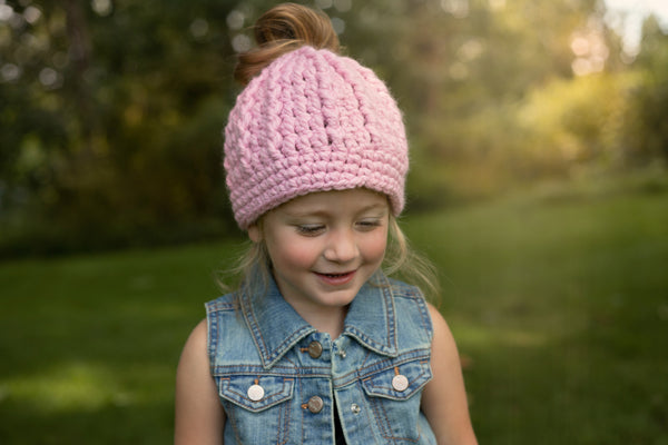 Pink blossom messy bun ponytail beanie winter hat