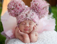 Newborn Pink & Brown Pom Pom Hat